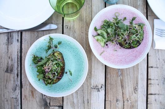 Grillierte Avocado mit Kräuter-Sprossen-Salat II